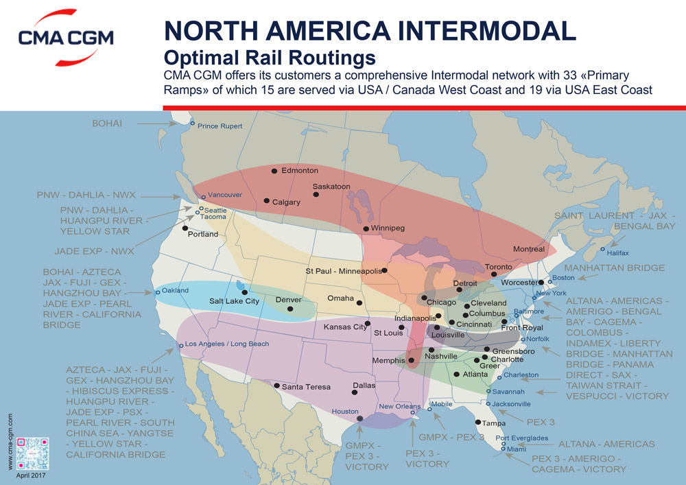 North America intermodal - Optimal rail routing