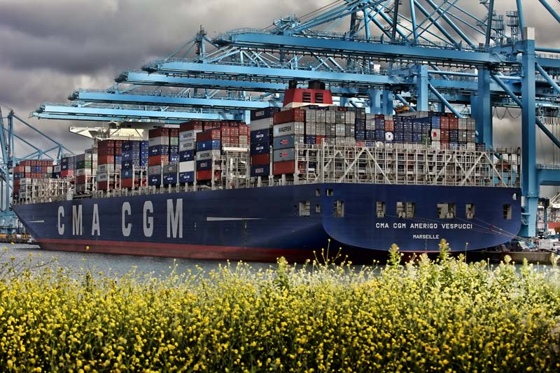 The CMA CGM AMERIGO VESPUCCI in the port of Rotterdam