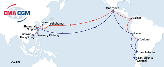 CMA CGM's winter program on the Asia to Mexico, Central ... on mexican west coast, map of mexico's pacific coast, map of mexico's east coast, map of mexico coast com, map of mexico's gulf coast, western mexico coast,