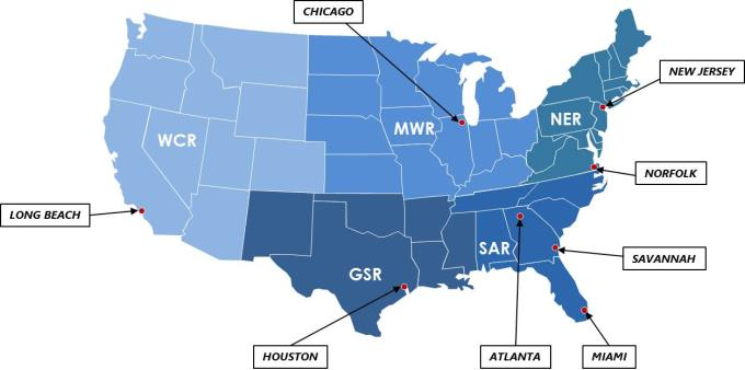 CMA CGM America LLC - Miami on us map